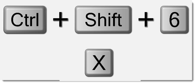 ctrl shift 6 x